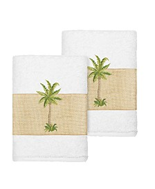 Linum Home Colton 2-Pc. Embellished Washcloth Set