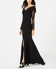 XSCAPE Off-The-Shoulder Lace-Sleeve Gown