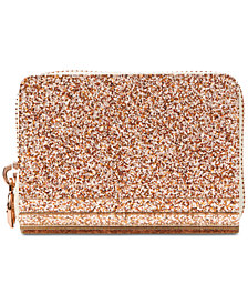 MICHAEL Michael Kors Barbara Metallic Zip-Around Coin Card Case