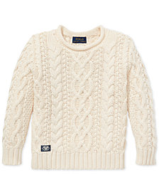 Polo Ralph Lauren Toddler Boys Aran-Knit Cotton Sweater