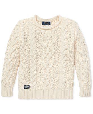 Polo Ralph Lauren Toddler Boys Aran Knit Cotton Sweater Sweaters