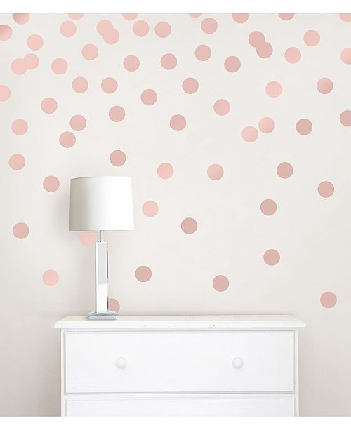 Brewster Home Fashions Rose Gold Confetti Dots Set Of 128