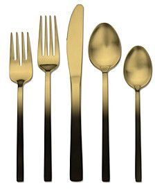 Skandia Biltmore Ombre Gold and Black 20-PC Flatware Set, Service for 4