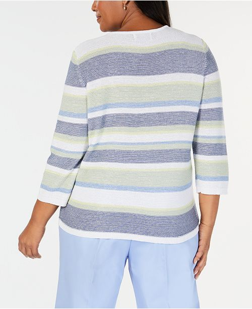 3abdb0714154d Alfred Dunner Plus Size Greenwich Hills Textured Striped Sweater ...