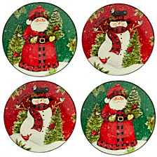 Certified International Winter's Plaid 4-Pc. Dinner Plates