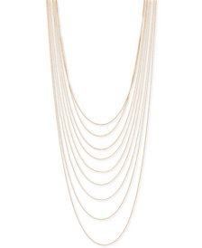 """BCBG Gold-Tone Multi-Row Ball Chain Necklace, 21"""" + 3"""" extender"""