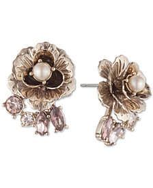Marchesa Gold-Tone Crystal & Imitation Pearl Flower Stud Earrings