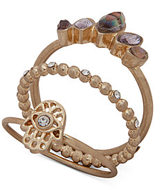 lonna & lilly Gold-Tone 3-Pc. Set Crystal & Stone Hamsa Hand Stackable Rings