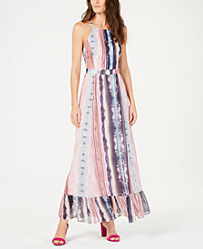 I.N.C. Flounce-Hem Halter Maxi Dress, Created for Macy's
