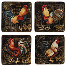 Certified International Gilded Rooster 4-Pc. Dinner Plate