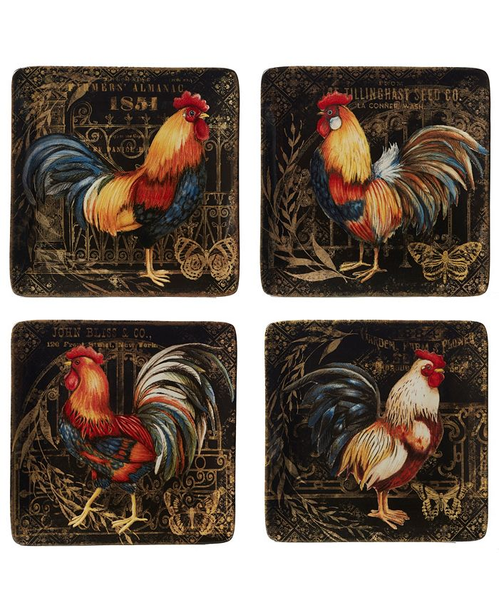 Certified International - Gilded Rooster 4-Pc. Dinner Plate