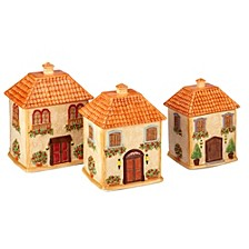 Piazette 3-D Villa House 3-Pc. Canister Set