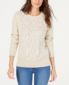 I.N.C. Petite Paiette Cable Pullover, Created for Macy's