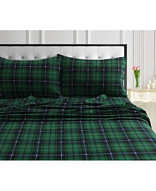 Cambridge Plaid 170-Gsm Cotton Flannel Printed Extra Deep Pocket Cal King Sheet Set
