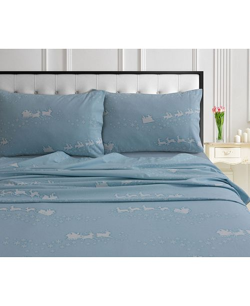 Tribeca Living Santa's Sleigh 170-GSM Cotton Flannel Printed Extra Deep Pocket Twin Sheet Set