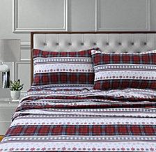 Comfy Stripe 170-Gsm Cotton Flannel Printed Extra Deep Pocket Queen Sheet Set