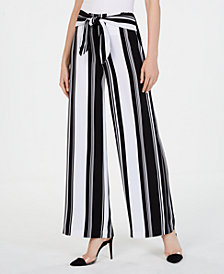 I.N.C. Striped Tie-Waist Wide-Leg Pants, Created for Macy's