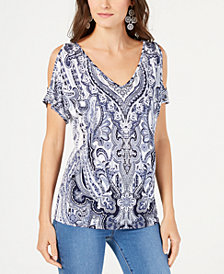 I.N.C. Cutout-Shoulder V-Neck Top, Created for Macy's