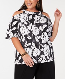 I.N.C. Plus Size Printed Cold-Shoulder Top, Created for Macy's
