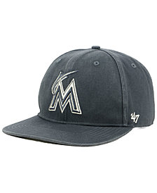 '47 Brand Miami Marlins Garment Washed Navy Snapback Cap