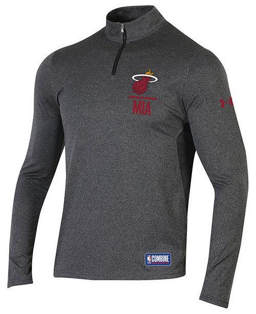 new arrival 10b6a 7dbed Men's Miami Heat Combine Authentic Season Quarter-Zip Pullover