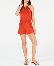 MICHAEL Michael Kors Smocked Beaded-Neck Romper