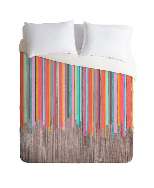 Deny Designs Iveta Abolina Stripe Happy Twin Duvet Set