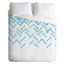 Deny Designs Iveta Abolina Teal Chevron Queen Duvet Set