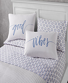 Happy Vibes 6 Piece Queen Size Microfiber Sheet Set With Novelty Pillowcases