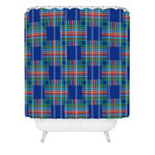Deny Designs Holli Zollinger Cross Hatch Blue Shower Curtain