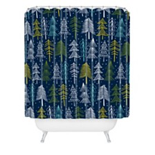 Deny Designs Heather Dutton Oh Christmas Tree Midnight Shower Curtain