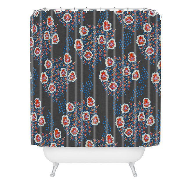 Deny Designs Holli Zollinger Boho Dark Floral Shower Curtain