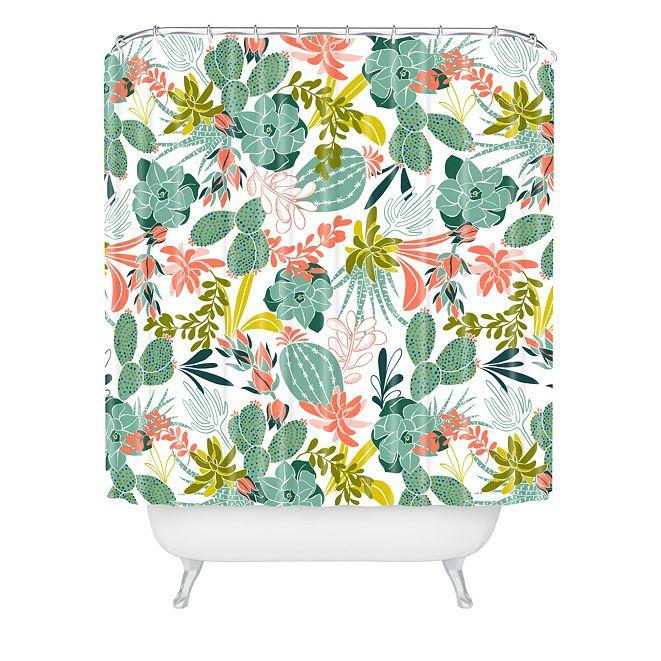 Deny Designs Heather Dutton Succulent Garden White Shower Curtain