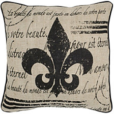 "Rizzy Home Brown 18"" X 18"" Fleur De Lis With Script Poly Filled Pillow"
