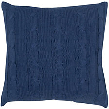 "Rizzy Home Blue 18"" X 18"" Cable Knit Poly Filled Pillow"