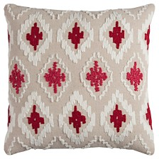 """Rizzy Home 20"""" x 20"""" Ikat Poly Filled Pillow"""