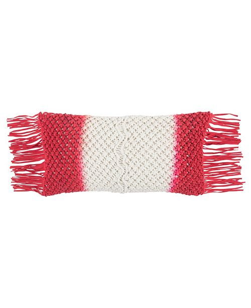 """Rizzy Home 11"""" x 21"""" Macrame Poly Filled Pillow"""