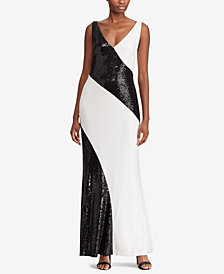 Lauren Ralph Lauren Sequin Two-Tone Gown