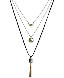 "Lucky Brand Gold-Tone Black Mother-of-Pearl Stone Three-Row Pendant Necklace, 27-1/2"" + 1"" extender"