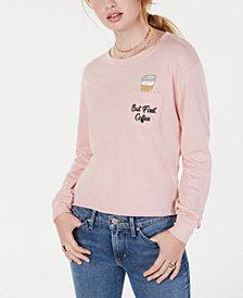 Love Tribe Juniors' Coffee Graphic Pocket T-Shirt