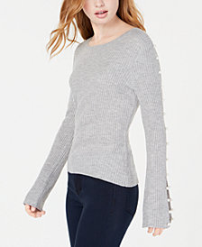 Ultra Flirt By Ikeddi Juniors' Faux-Pearl Rib-Knit Sweater