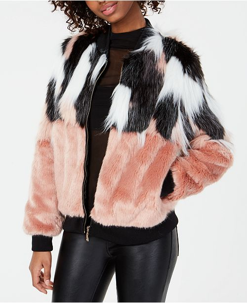 Say What? Juniors' Mixed Faux-Fur Jacket
