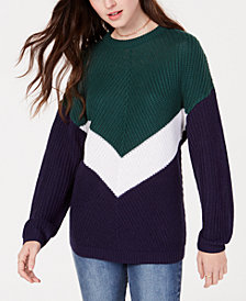Planet Gold Juniors' Colorblocked Chevron Sweater