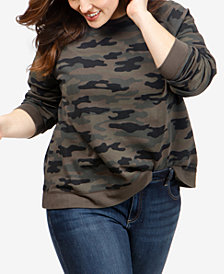 Lucky Brand Plus Size Camo-Print Sweatshirt
