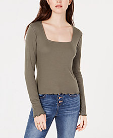 Freshman Juniors' Square-Neck Solid Top