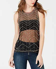 GUESS Shaundi Sheer Embellished Top
