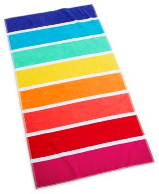 """Rainbow Stripe 38"""" x 68"""" Beach Towel, Created for Macy's"""