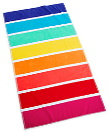 "Martha Stewart Collection Rainbow Stripe 38"" x 68"" Beach Towel, Created for Macy's"