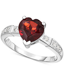 Garnet (1-3/4 ct. t.w.) & Diamond Accent Ring in 14k White Gold