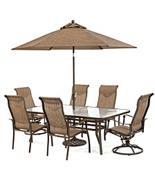 "CLOSEOUT! Oasis Outdoor Aluminum 7-Pc. Dining Set (84"" x 42"" Dining Table, 4 Dining Chairs and 2 Swivel Rockers), Created for Macy's"